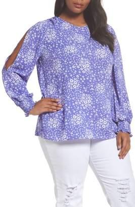 MICHAEL Michael Kors Mod Floral Slit Sleeve Top