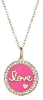 Sydney Evan Diamond, Pink Enamel& 14K Yellow Gold Love Medallion Pendant Necklace