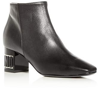 Moschino Women's Leather Logo Block-Heel Booties
