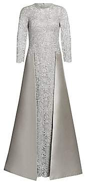 Teri Jon by Rickie Freeman Women's Embellished Floral Lace & Gazar Gown