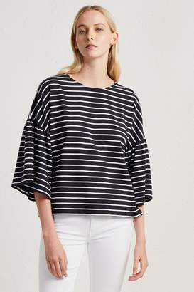 French Connenction Tim Tim Stripe Bell Sleeve Top