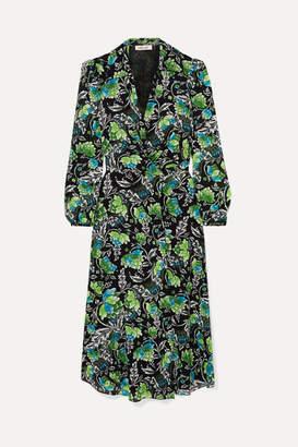 Diane von Furstenberg Phoenix Floral-print Georgette Wrap Dress - Green