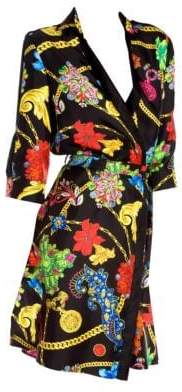 Versace Women's Long-Sleeve Floral Print Belted A-line Shirtdress - Black - Size 40 (4)