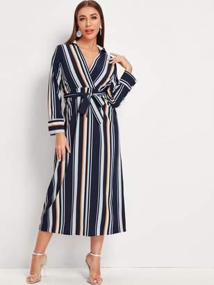 Shein Vertical-striped Surplice Front Self Tie Shirt Dress