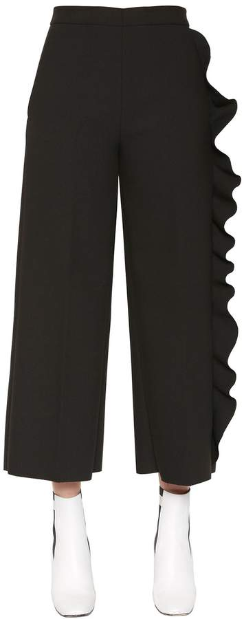 Ruffled Technical Cady Stretch Pants