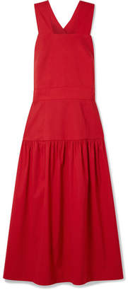 Sea Cecily Paneled Poplin Midi Dress - Red
