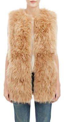 Barneys New York Women's Lamb Fur Long Vest-BROWN $1,795 thestylecure.com