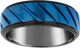 Men's 8mm Black & Blue Plated Tungsten WeddingBand