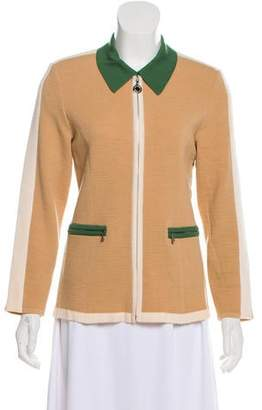 Courreges Wool Knit Zip-Up Cardigan