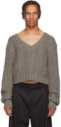 Chin Mens Grey Crop V-Neck Sweater