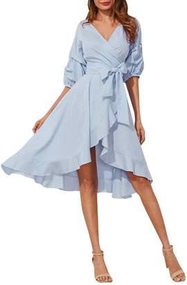 Glamaker Women's V-Neck Striped A Line High Low Hem Wrap Dress Short Sleeve with Ruffle