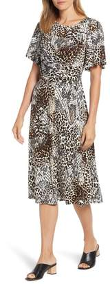 Chaus Exotic Animal Print Ruched Midi Dress