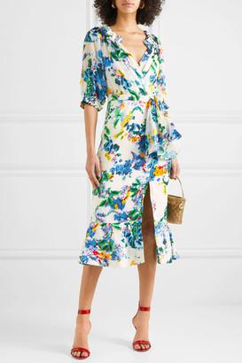 Saloni Olivia Floral-print Devoré-chiffon Wrap-effect Midi Dress - White