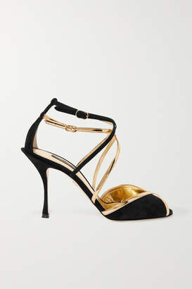 Dolce & Gabbana Metallic Leather-trimmed Suede Sandals - Black