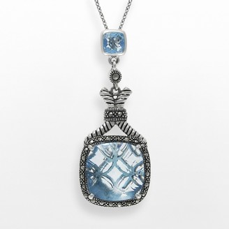 Lavish by TJM Sterling Silver Lab-Created Blue Quartz Pendant - Made with Swarovski Marcasite