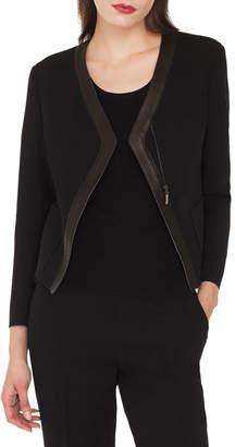 Akris Saphir Short Cardigan-Style Jacket with Leather Trim