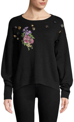 Dolce & Gabbana Embroidery Flower & Buttons Cashmere Sweater