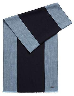 HUGO BOSS Lightweight scarf in a wool blend with engineered stripes