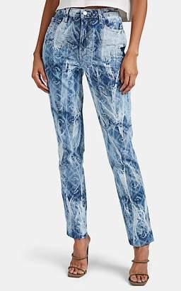 Jordache Women's Logo Tie-Dyed Slim Straight Jeans - Blue