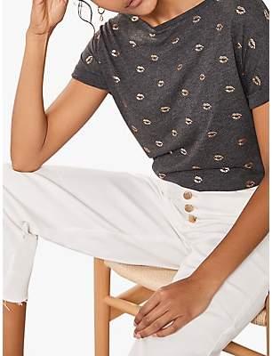 978cfacc3c3bc1 Mint Velvet Kiss Print Boat Neck T-Shirt, Dark Grey