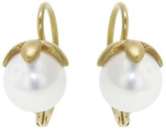 Cathy Waterman Star Capped Pearl Earrings - Yellow Gold
