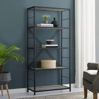 "Manor Park 60"" Rustic Metal and Wood Media Bookshelf Bookcase, Grey Wash"