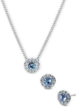 Givenchy Silvertone Pave and Blue Crystal Necklace and Earring Set