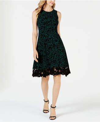 Donna Ricco Flocked Velvet A-Line Dress