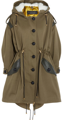 Burberry - Oversized Hooded Shearling And Leather-trimmed Cotton-twill Parka - Army green $3,995 thestylecure.com