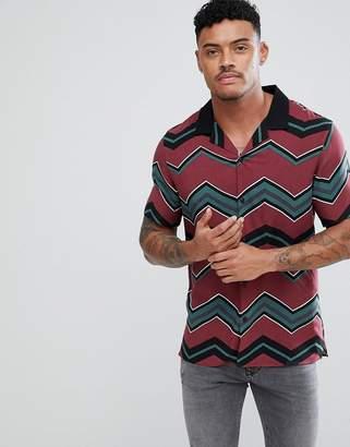 Asos Design Oversized Chevron Stripe Shirt With Revere Collar