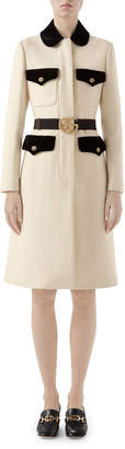 Gucci Tiger-Button Front Wool Coat