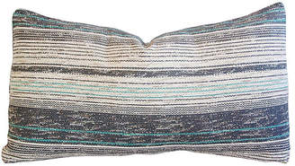 One Kings Lane Vintage French Gray & Teal Woven Textile Pillow