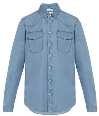 Valentino Rockstud Untitled Chambray Shirt - Mens - Light Blue