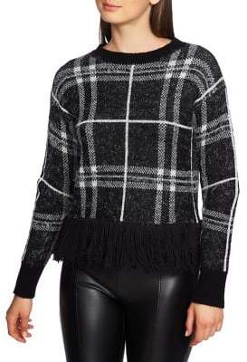 1 STATE Moody Hues Eyelash Plaid Fringe Hem Sweater