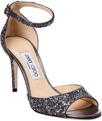 Jimmy Choo Annie 85 Ankle-Strap Glitter Sandal