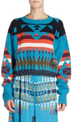 Sacai Crewneck Long-Sleeve Ikat-Print Cropped Pullover Sweater