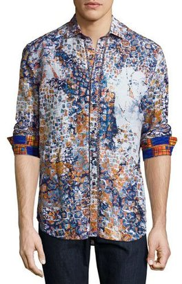 Robert Graham Limited Edition Tile-Print Sport Shirt, Blue $398 thestylecure.com