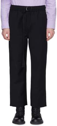 Pronounce Belted rib knit stripe outseam wool jogging pants