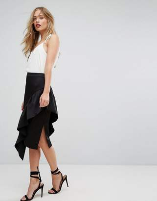 Forever New Midi Skirt with Asymmetric Frill