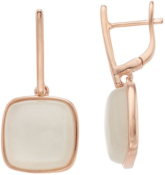 14k Rose Gold Over Silver Moonstone Drop Earrings
