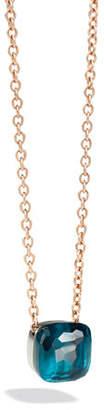 Pomellato Nudo Grande 18k Rose Gold Blue Topaz Pendant Necklace