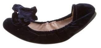 Miu Miu Velvet Bow-Accented Flats