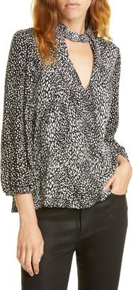 Alice + Olivia Willa Cutout Blouson Sleeve Top