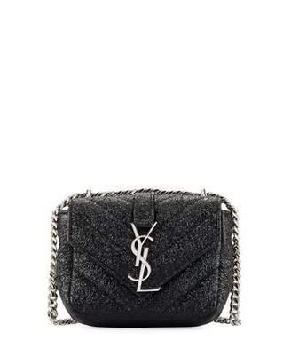 Saint Laurent Monogram Micro Metallic Quilted Crossbody Bag, Black $675 thestylecure.com