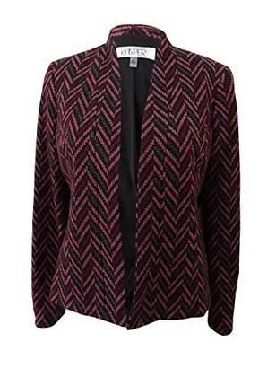 Kasper Women's Plus Size Zig Zag Jacquard Flyaway Jacket