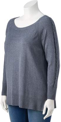 Lauren Conrad Plus Size Lace-Up Sleeve Tunic Sweater