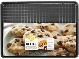 Wilton Bake It Better Non-Stick Mega Cookie Pan and Chrome Cooling Grid Set