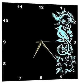 3dRose All Black Design with Turquoise Birds Flourishes and Butterflies, Wall Clock, 10 by 10-inch