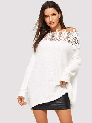 Shein Floral Lace Insert Solid Sweater