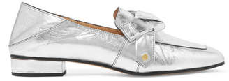 Chloé Quincey Collapsible-heel Metallic Leather Loafers - Silver